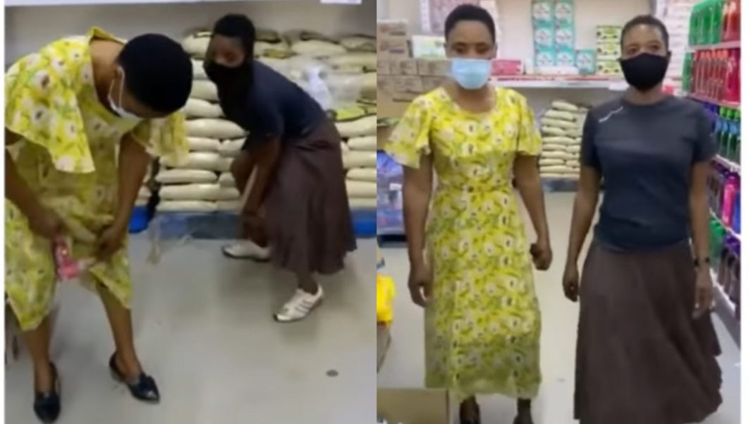 VIDEO) Two Ladies Steal Items From Provision Shop And Hide Them In The Dress