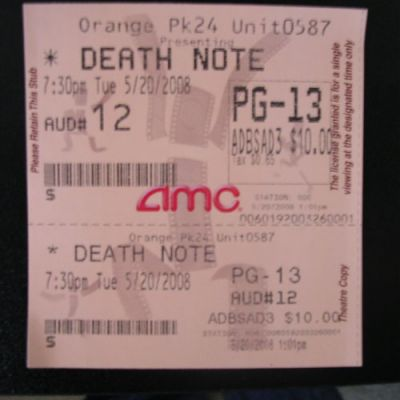 Death Note movie ticket