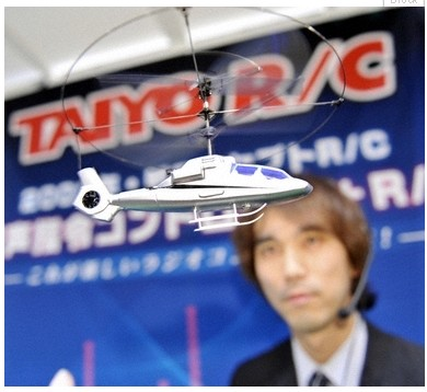 Voice-controlled toy helicopters