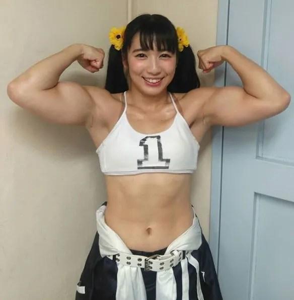 Reika Saiki showing off the guns!