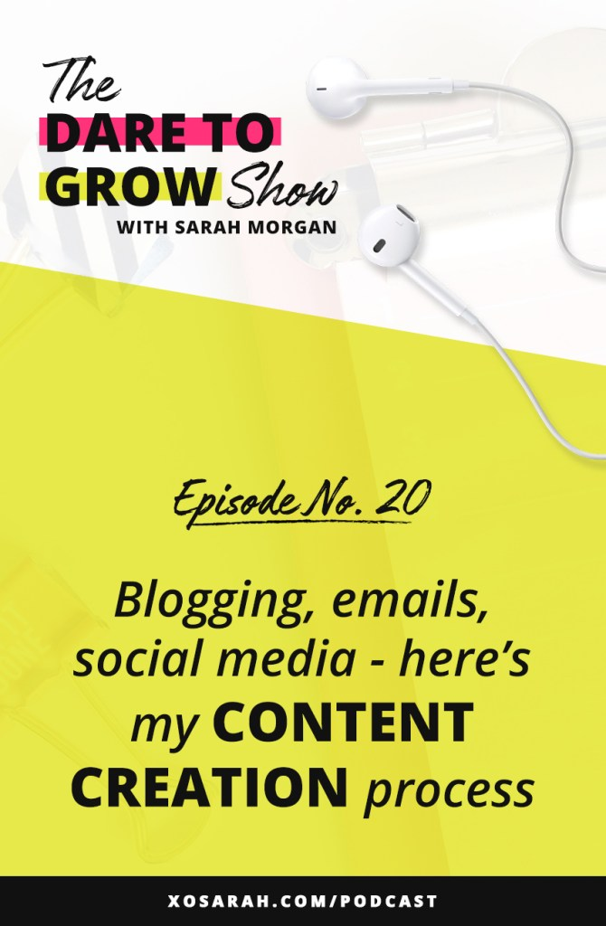 Content Planning: Does the idea of writing all those blog posts, Instagram posts, emails, podcast episodes, Youtube videos have your head spinning?? In this week's episode of The Dare to Grow Show I'm sharing my step-by-step process for creating content for multiple platforms at once so no matter where someone follows you they will hear from you consistently!