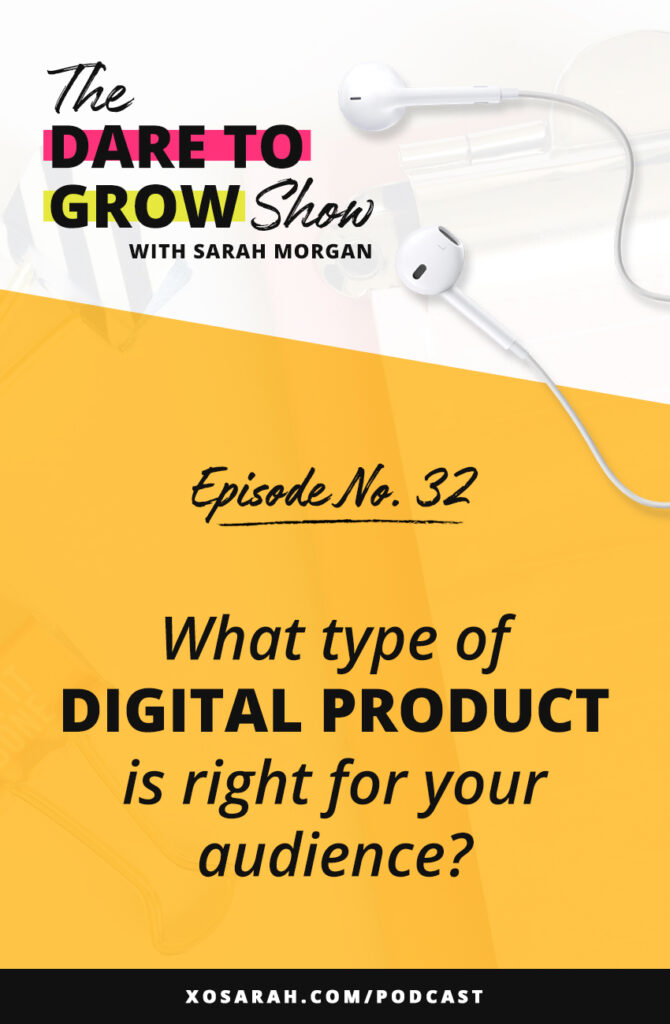 Online course, ebook, workshop - what type of digital product should you create? There are tons of options to grow your business and income online. Listen to this podcast episode (or read the blog post) to figure out what product type will be most profitable for you.