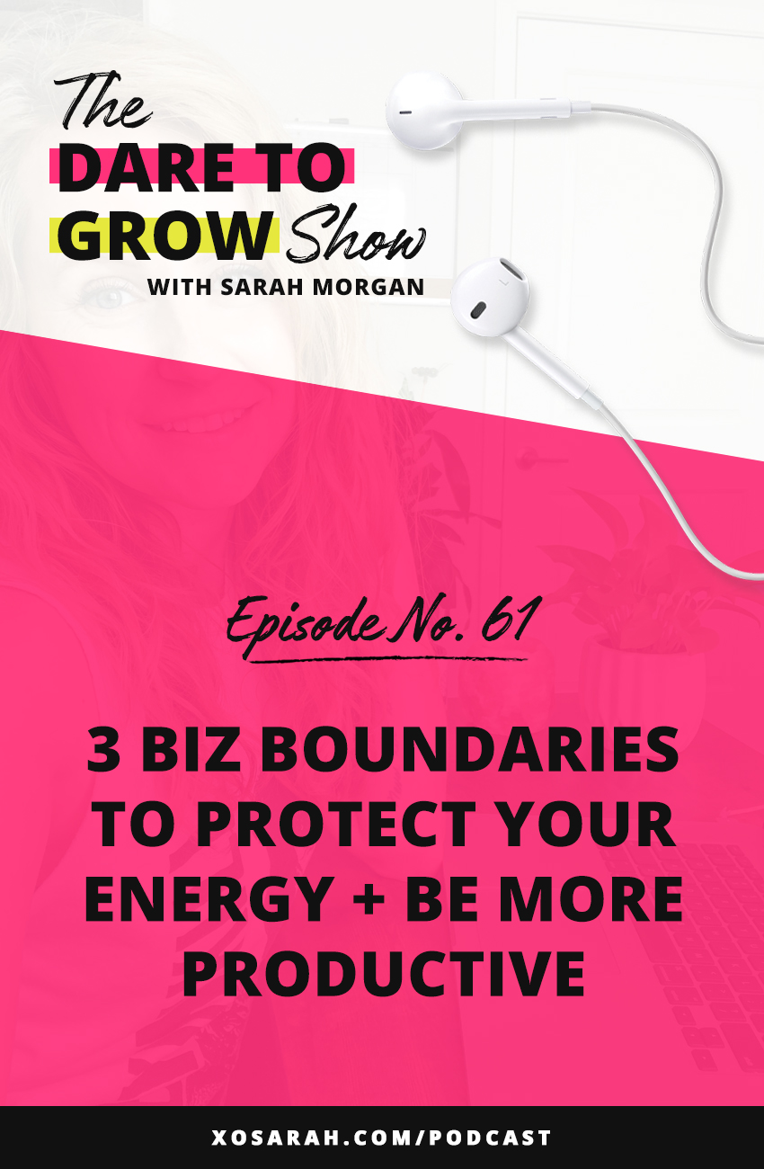 Hey Solopreneur, it's time to set some business boundaries to help protect your energy and be more productive. If you've been working long hours, responding to client emails 8 times in one day, or sending extra revisions, this is for you. When we're hustling for every dollar the rules tend to fly out the window and our boundaries become non-existent. But boundaries are what help you stay on track, stay focused, and get those most important, money making tasks done.   Click through for 3 boundaries to set in your online business.