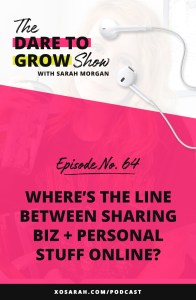 Where's the line between sharing biz and personal stuff online? When you're a solopreneur on Instagram it can be difficult to decide, so I'm sharing my rule for sharing personal stuff and business stuff in my social media, podcast, and blog.