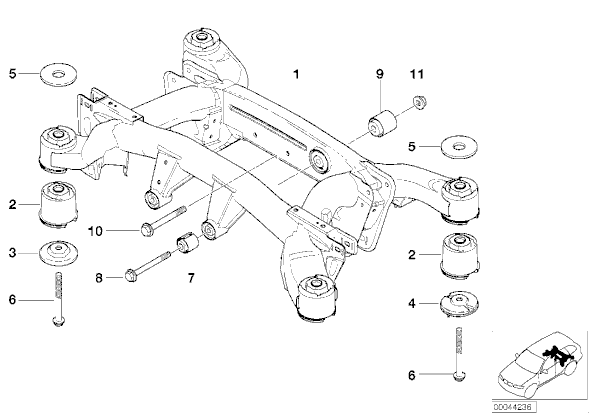 Rear Axle carrier bushes, part of the suspension