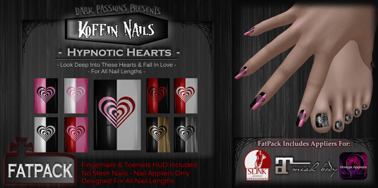 Dark Passions - Koffin Nails Hypnotic Hearts http://maps.secondlife.com/secondlife/Spectacle/205/111/55