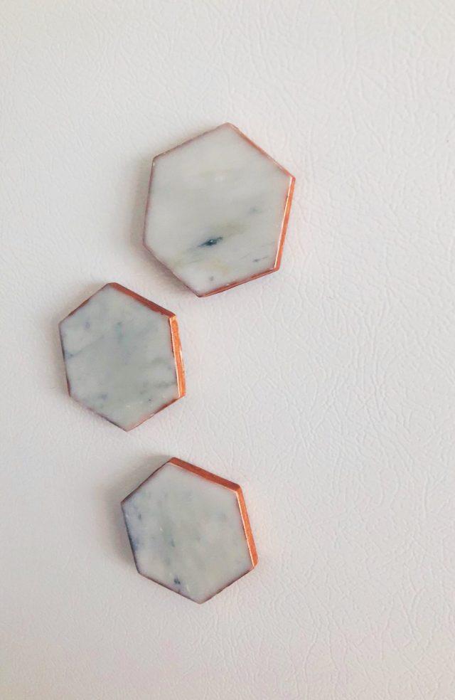 Easy DIY Carrara Marble Magnets rose-gold diy