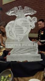 xoxo rebecca mae usmc ball ice sculpture