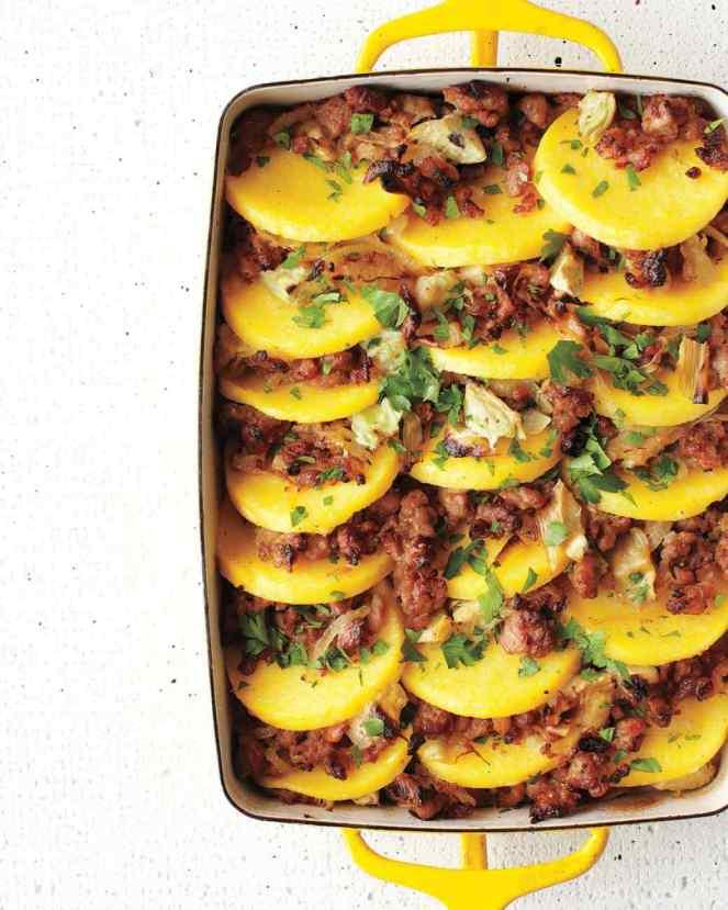baked-polenta-sausage-artichoke-hearts-med108372_vert