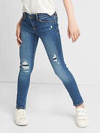 High stretch destructed super skinny jeans - indigo denim