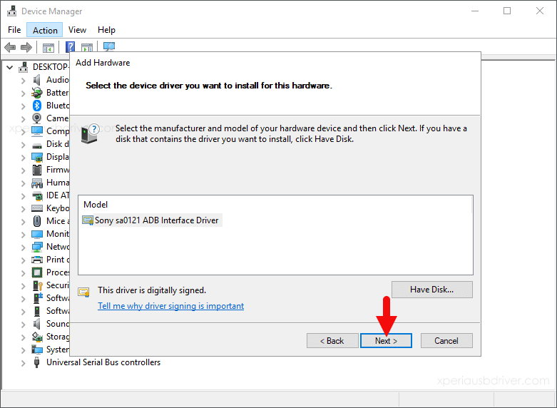 device manager add-hardware select device driver
