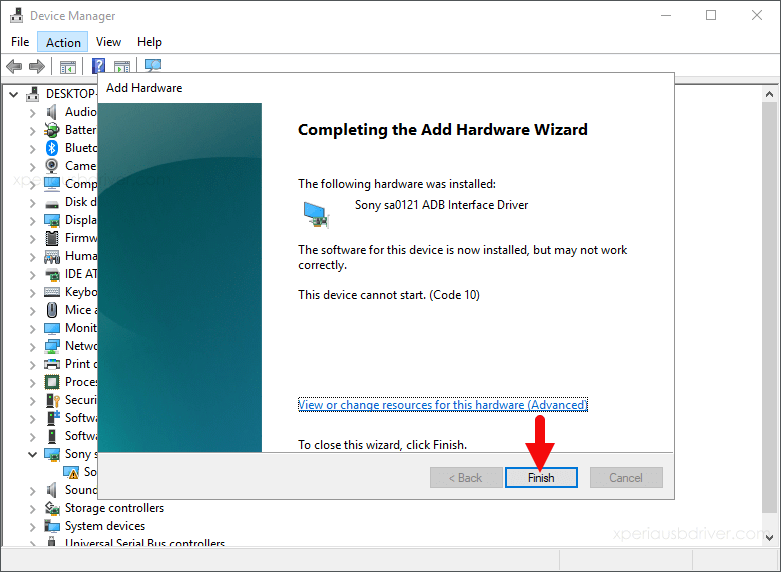 device manager add hardware wizard finish