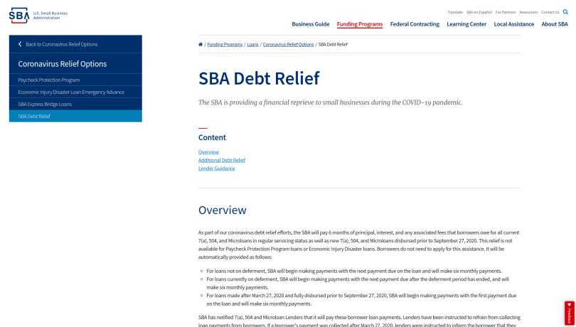 SBA Debit Relief