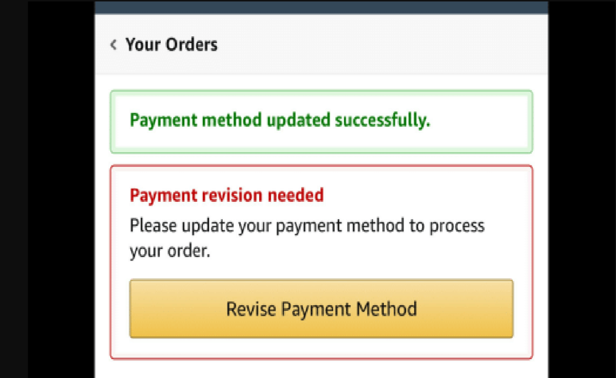 Image of What is Payment Revision Needed Error on Amazon