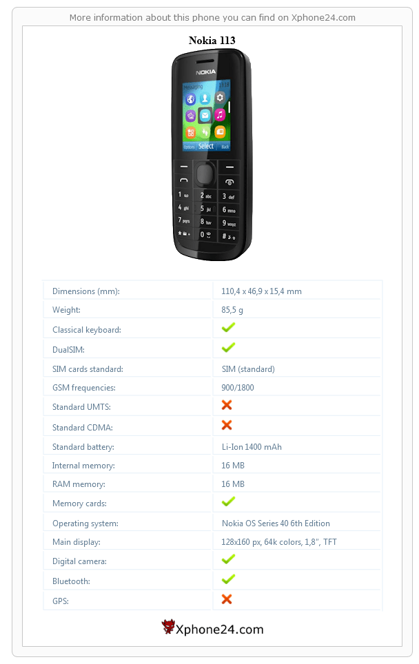 Nokia 113 Phone Gallery, price :: Xphone24.com (DUAL SIM
