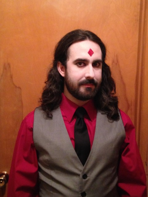 Rachel screwed up and accidentally gave David material for episode 54 instead of 53, so there's no illustration this week. Instead, we offer both our sincere apologies and this photo of Miles dressed up as Mister Sinister at a costume party.