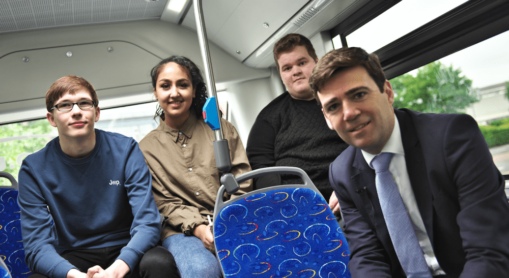 Mayor of Greater Manchester Andy Burnham Launches Half Price Bus Travel