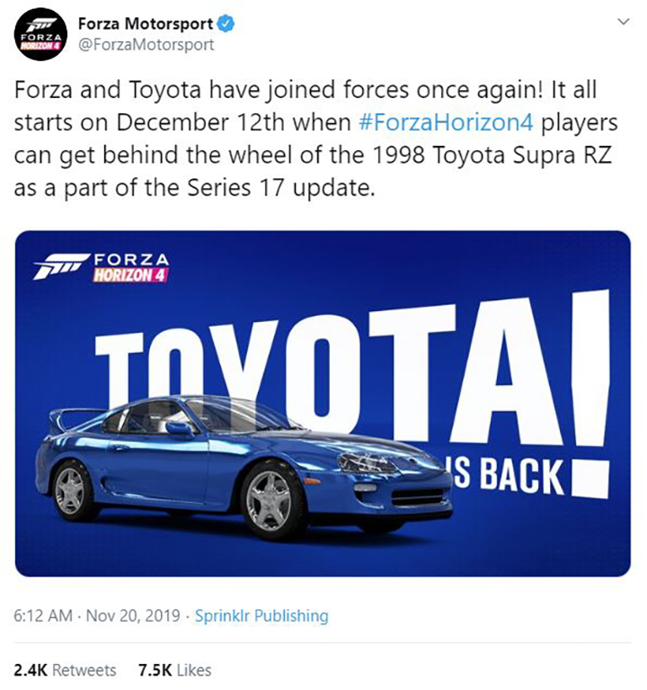 Toyota Returns to the Forza Franchise Next Month