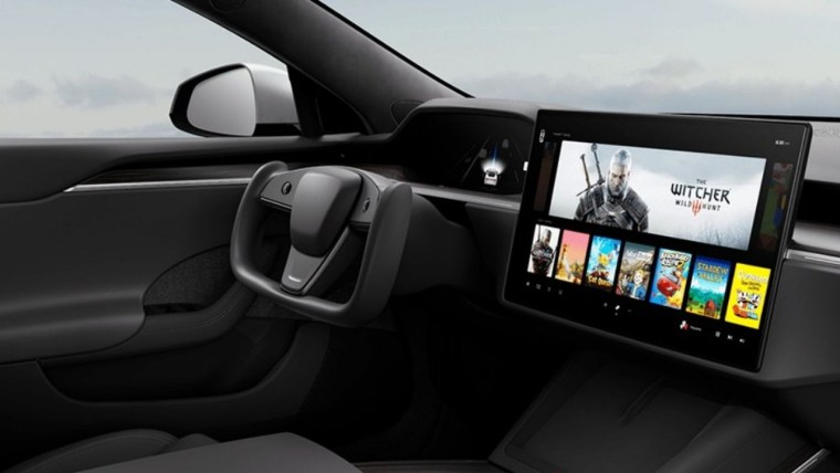 The Witcher 3 on the new Model S's Tesla Arcade.