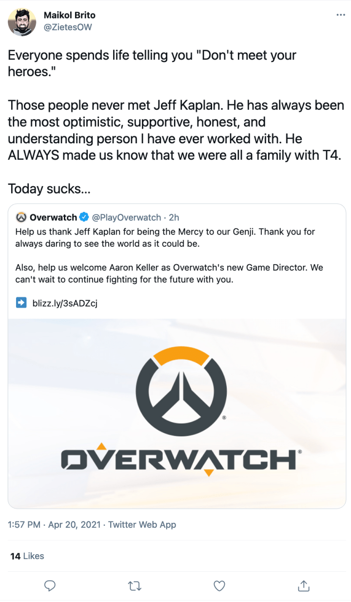 Blizzard Developers and Fans React to Jeff Kaplan's Departure From Overwatch