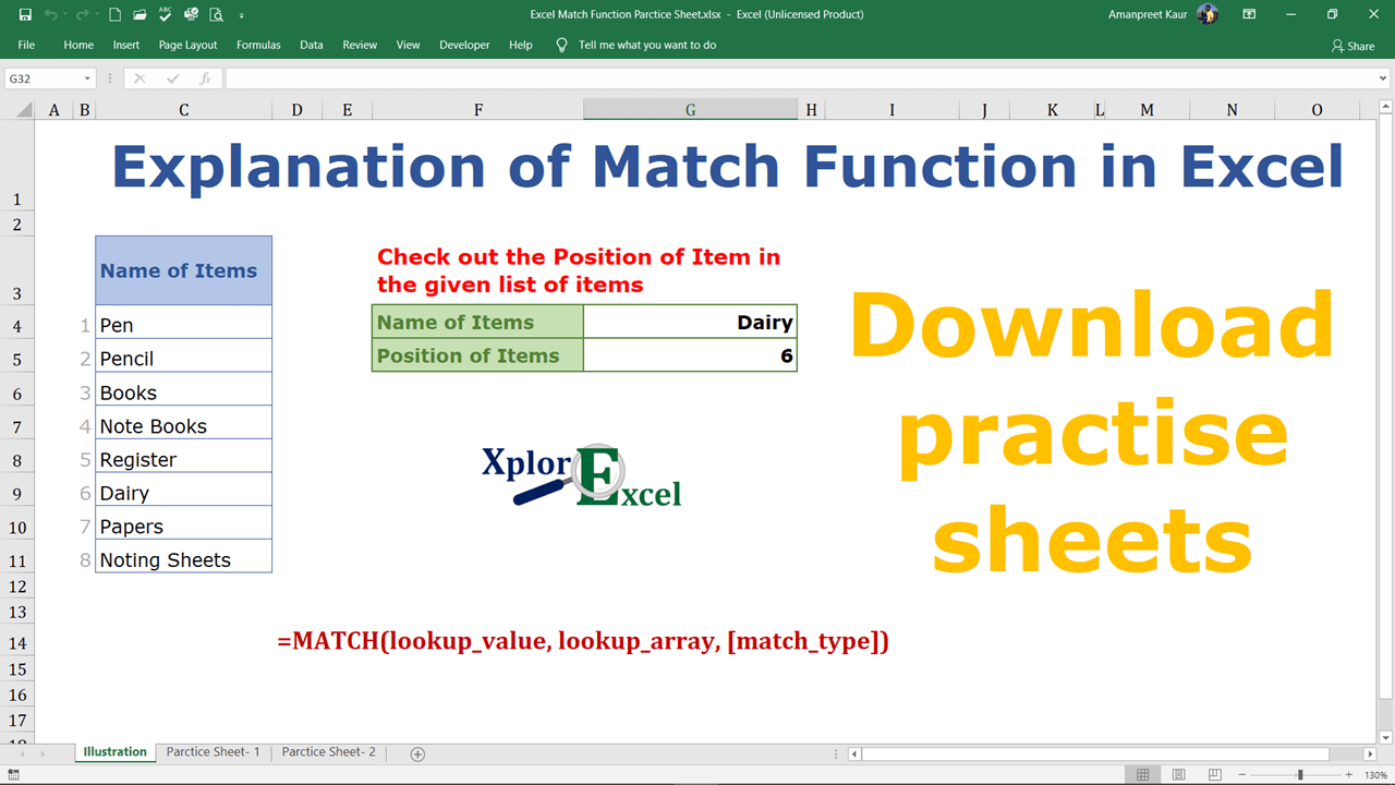 Excel Match Function- Download 2 practice Sheet-min