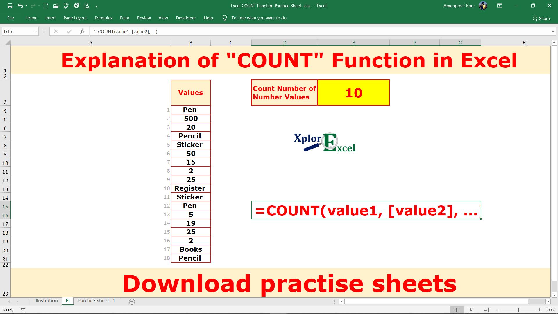 COUNT Function in Excel  Download 20 Practice Sheet   Xplore Excel