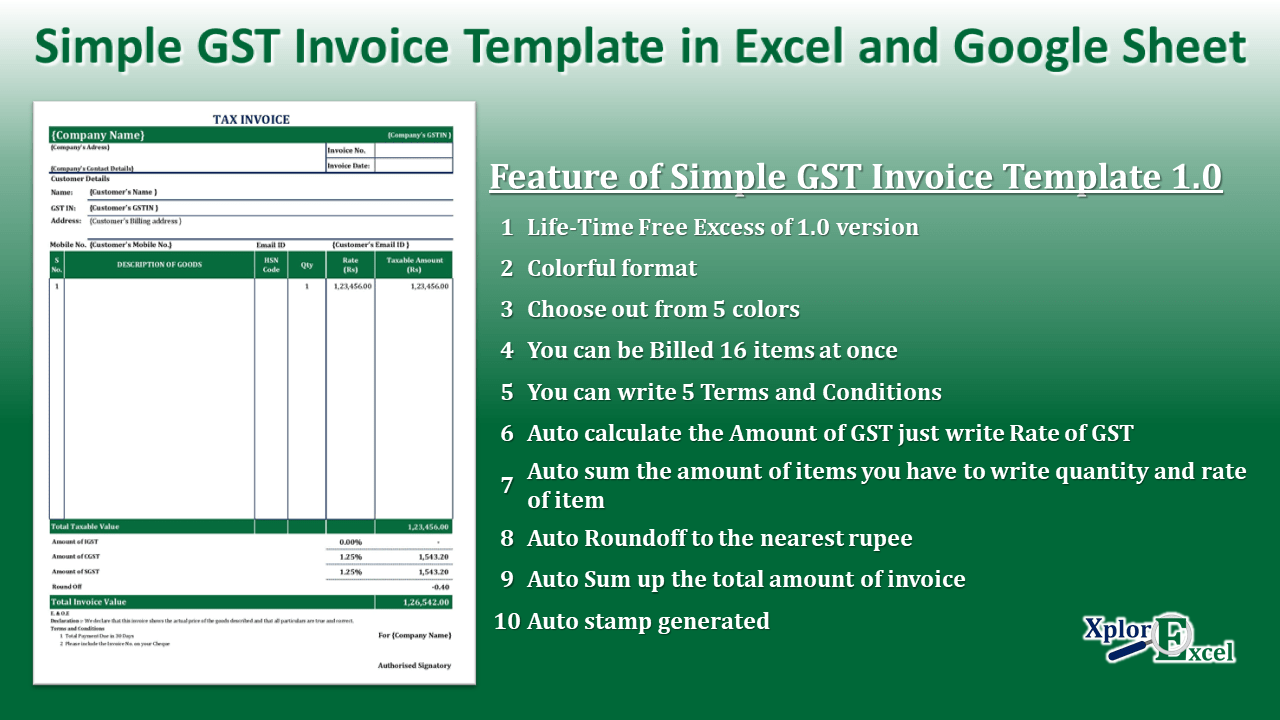 Simple GST Invoice Template in Excel and Google Sheet-min
