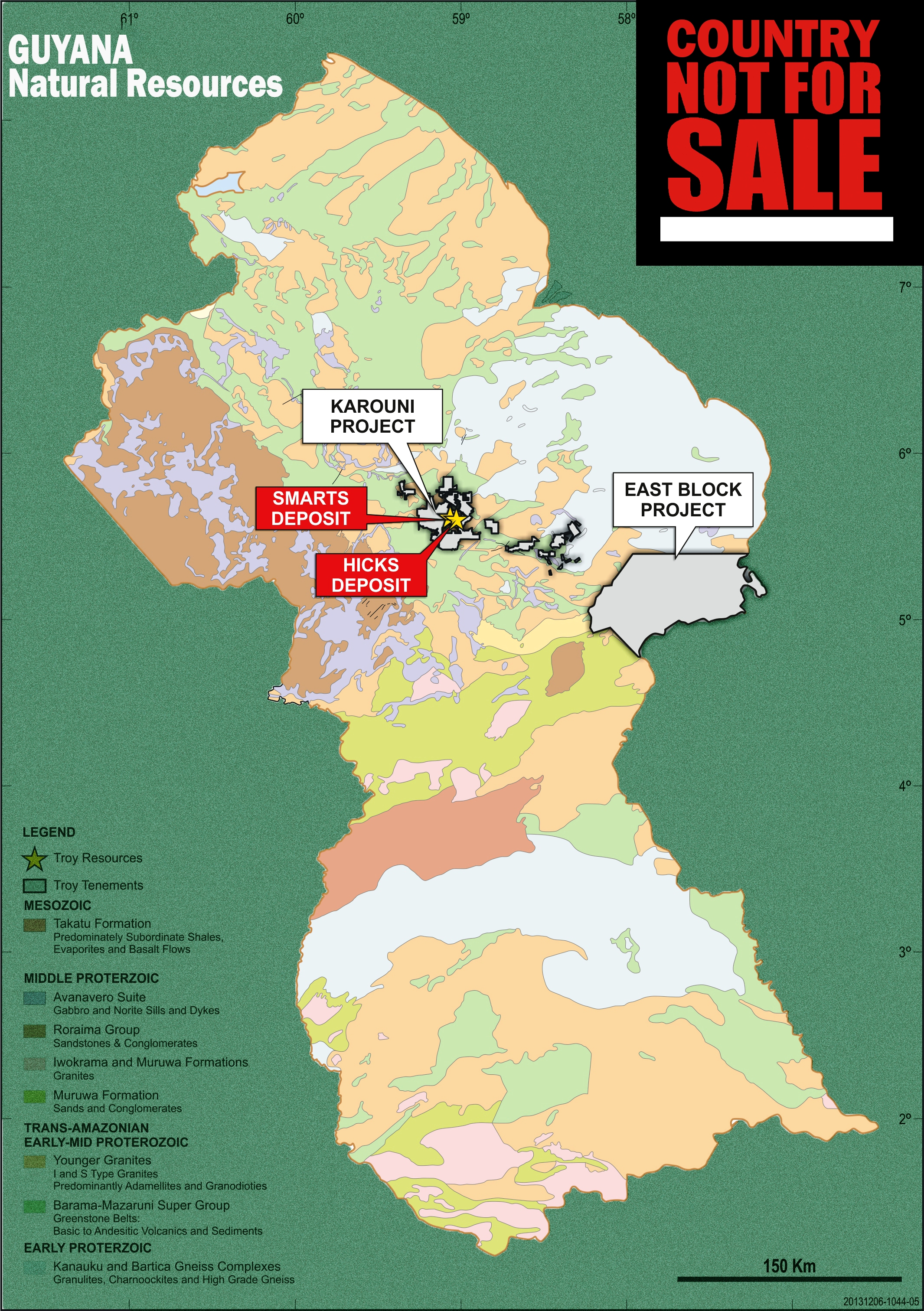 guyana, mineral resources, not for sale