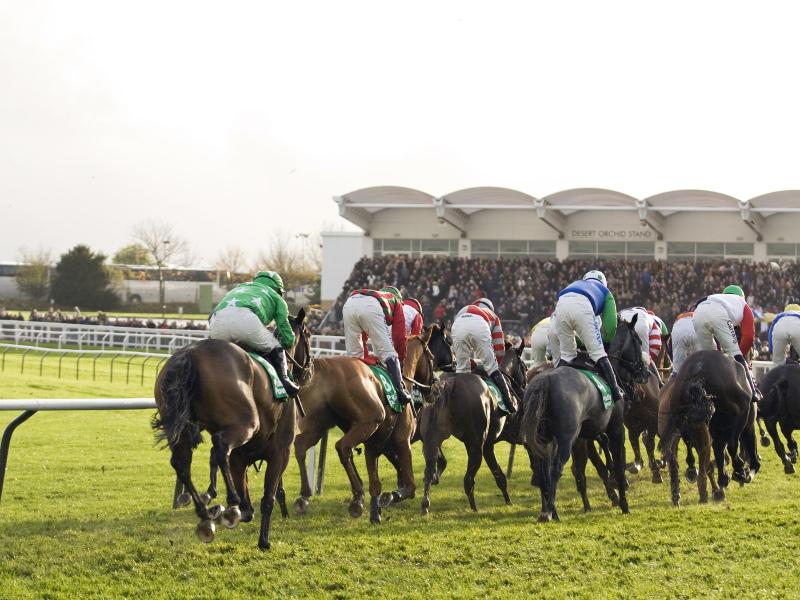 Horses racing around Cheltenham Racecourse during the festival