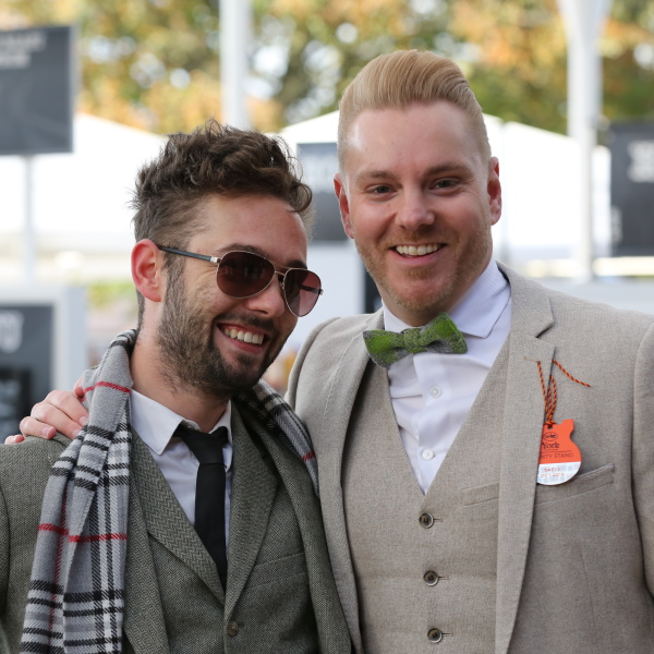 Two male customers at Cheltenham Races