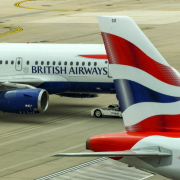 British airways plane on airport runway