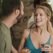 Man and woman socialising on night out