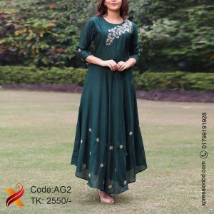 Bottle Green Georgette Gown
