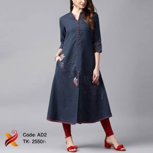 Navy Blue Embroidered Kurti