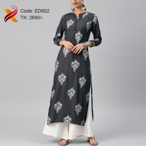 Embroidered Linen Kurti