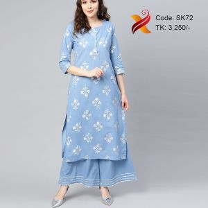 Cotton Embroidered Kurti With Palazzo