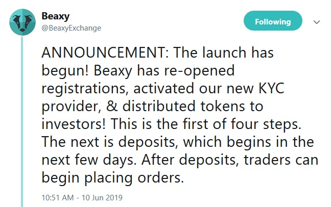Beaxy Exchange Tweet