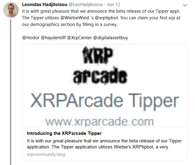 Tweet from Leonidas about XRP Arcade