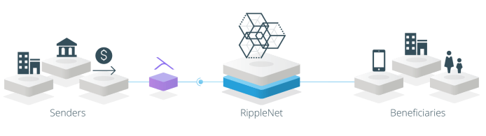 A visualization of banks using Ripple's xVia protocol to send payments using RippleNet.