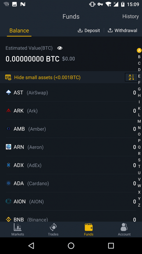 Binance Android app account funds tab.