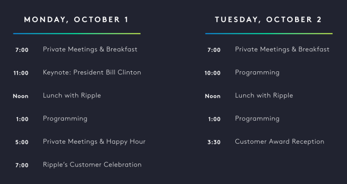 Ripple's Swell Conference 2018 Agenda at a glance. xRapid now being used announcement.