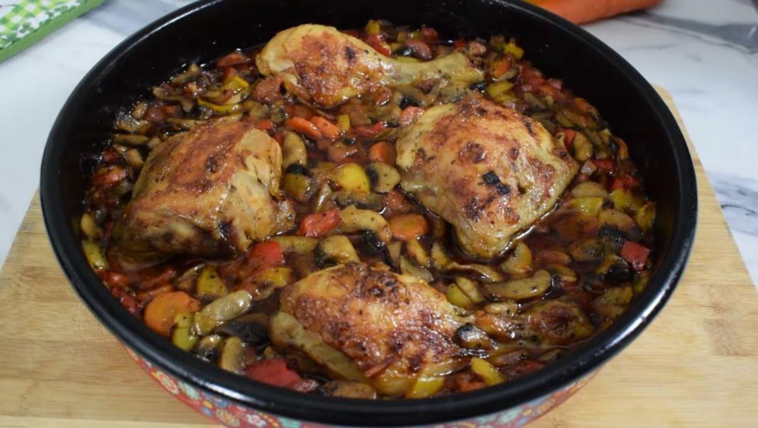 Κοτόπουλο στον φούρνο με μανιτάρια και λαχανικά