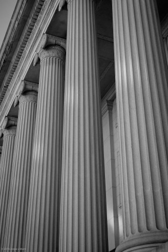 The beautiful architecture columns of the Treasury Department in