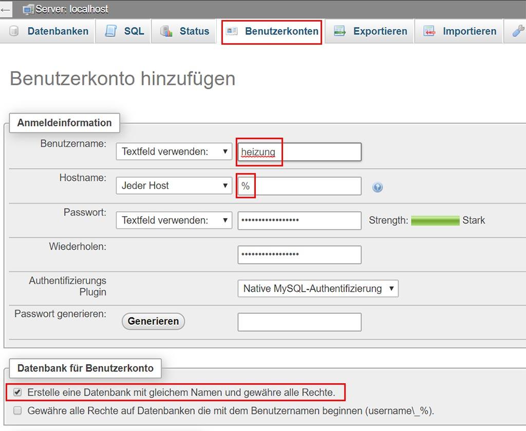 Datenbank für Hausautomation Sensordaten anlegen.