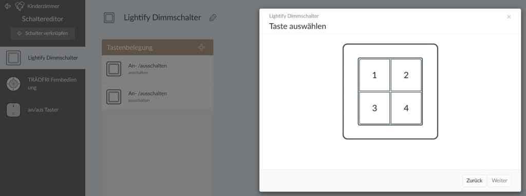 Osram Lightify Schalter in Phoscon.