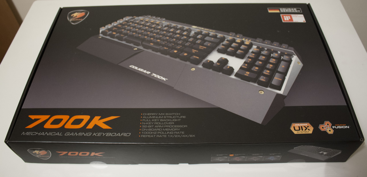 4c9c76c642e The Cougar 700K comes packed in a rather nice box, with a big photo of the  keyboard on the front with the backlighting and wrist rest shown  prominently.