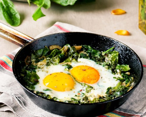 Eggs with Turmeric and Garlic Spinach