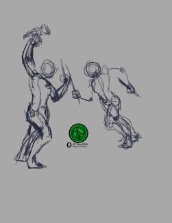 """Action Study Sketch 1 2016 Digital 8.5""""x11"""" #WarHammer #Swords#Action #Fighting #FantasyArt #Illustration #Warriors #Digital #DigitalArt."""