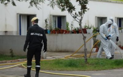 La UME neteja i desinfecta les zones especialment sensibles de Xàtiva