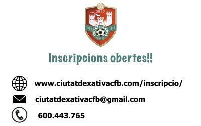 El Ciutat de Xàtiva obri les seues inscripcions per via telemàtica